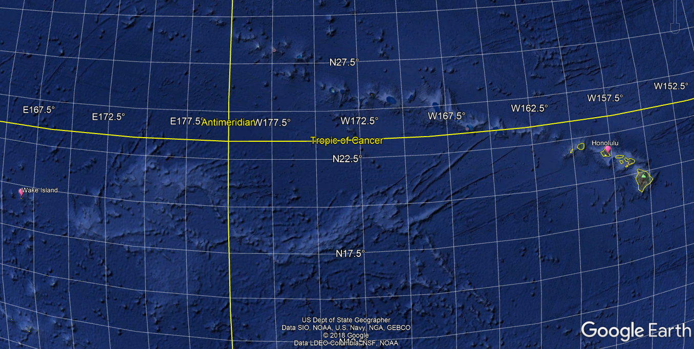 Wake Island in relation to Hawaii. Image from Google Earth