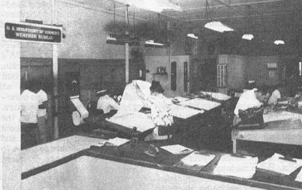 Weather Bureau office at Wake Island, 1954